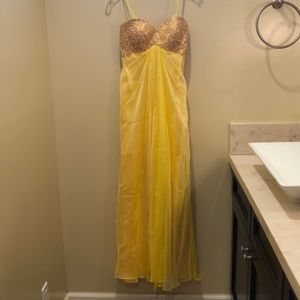 Strapless yellow evening gown